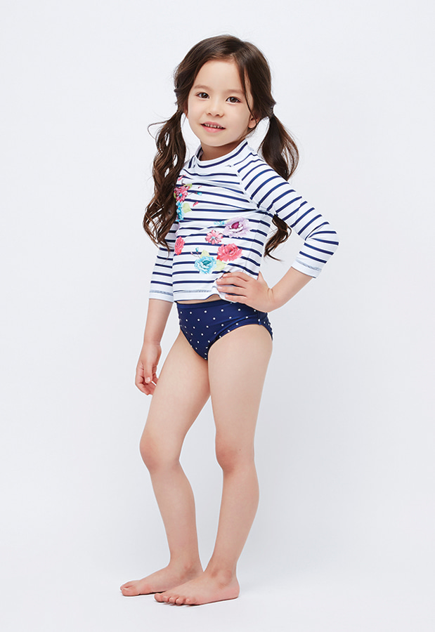 Rebecca Rashguard Mini - Stripe / Flower