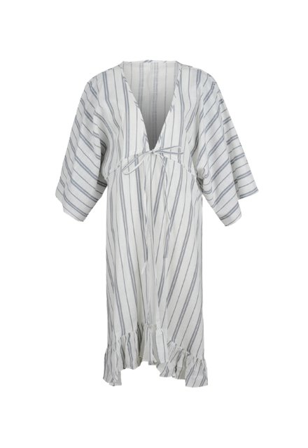 Frill Robe - White (Stripe)